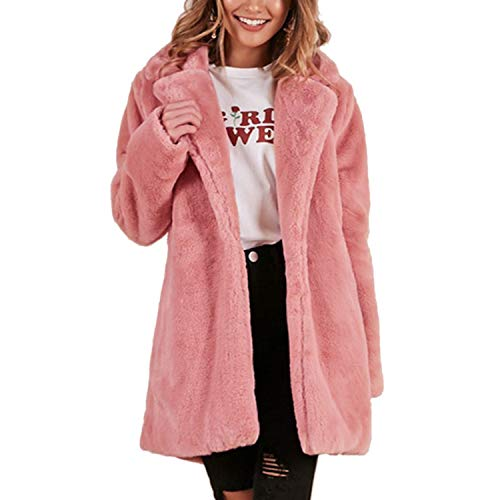 Autumn Winter Women Faux Fur Coat Elegant Pink Shaggy Streetwear Warm Plush Teddy Coat Female Plus Size Overcoat Party Pink XXXL