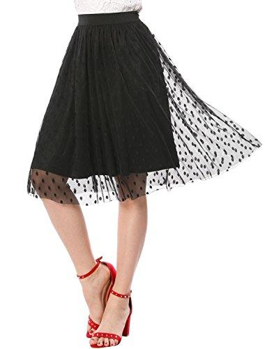 Allegra K Women's Polka Dots Elastic Waistband A Line Midi Mesh Skirt XS Black