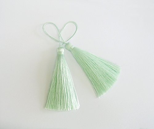 Mint Green Long Tassel Silk Fringe Pastel Color Trim Jewelry Making DIY Necklace Craft Sewing Supply 2 Pieces