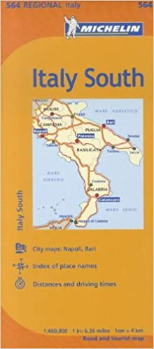 Map Of South Italy.Michelin Italy South Italie Sud Map 564 Michelin 9782067175358