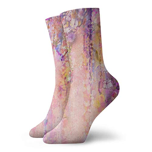 Crew Socks Vintage Watercolor Flowers Wisteria Stylish Unisex Casual Stocking Decor Sock Clearance for Teens