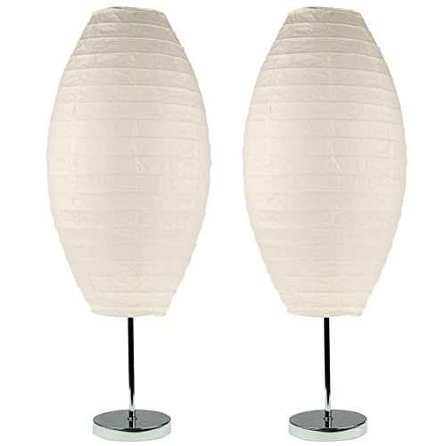 Light Accents Chrome Table Lamp Set with Paper Shades (Set of 2) Asian Metal Table Lamp