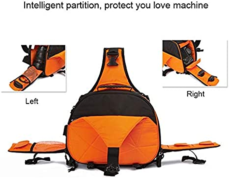 Color : Orange 332417cm Durable JINGZ Triangle Shape Tscope Sling Shoulder Cross Digital Camera Bags Case Soft Bag with Rain Cover for Canon for Nikon for Sony Size