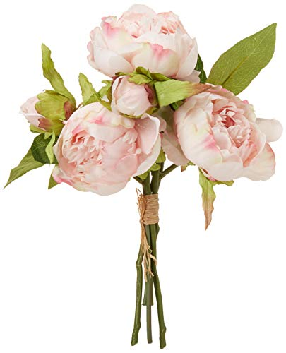 (Mud Pie Mixed Faille Peony Bundle Artificial Flowers, Pink, Green)