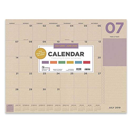Kraft Color Themed Large Desk Pad Monthly 2019 - 2020 Calendar: July 2019 - June 2020 (Academic Year Desktop Calendar, Planning Blotter)