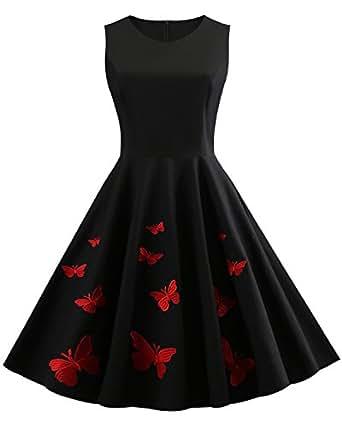 amazon com women s 50s vintage floral sleeveless dress spring