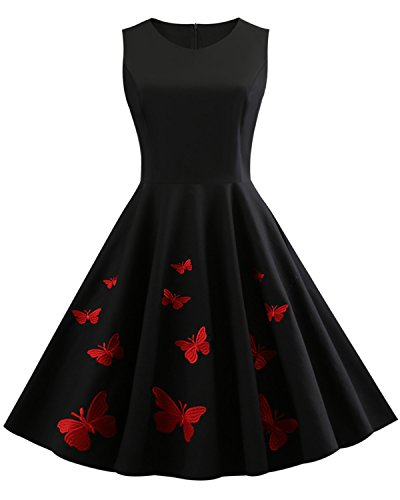 ZAFUL Women's 50s Vintage Floral Sleeveless Dress Spring Garden Swing Party Picnic A Line Cocktail Dress (2XL, Black Butterfly) ()