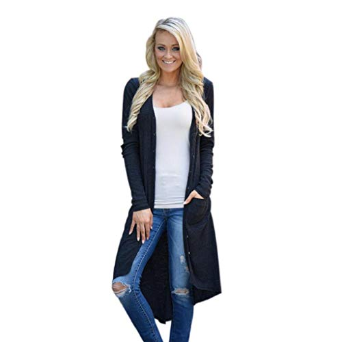 KASAAS Womens Loose Button Down Solid Long Sleeve Knitted Cardigan Casual Outwear Sweater Jackets Coat(8,Black)