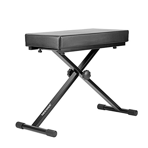 Neewer® Detachable Padded Keyboard Bench with X-style Iron Legs, 4-Position Height Adjustable (21.6''/23.6''/24.8''/26.8'', 55cm/60cm/63cm/68cm), Black by Neewer