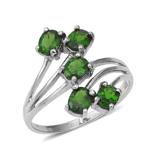 5 Stone Ring 925 Sterling Silver Platinum Plated Oval Chrome Diopside Gift Jewelry for Women Size 5 Ct 8.1 ()