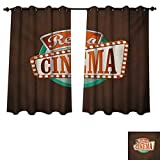 RuppertTextile Movie Theater Blackout Curtains Panels for Bedroom Retro Style Cinema Sign Design Film Festival Hollywood Theme Room Darkening Curtains Brown Turquoise Vermilion W72 x L84 inch For Sale