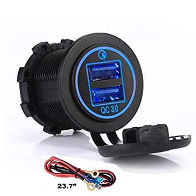 Truck Switchtec 3 5 7 Gang Rocker Switch Aluminum Panel with 4.8 Amps Dual USB Fast Charger with Voltmeter Red Backlit Led 4.8A USB /& 7 Switches Red Boat Car Pre-Wired for Marine