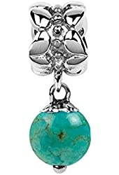 Sterling Silver December Birthstone Turquoise Dangle Bead Charm