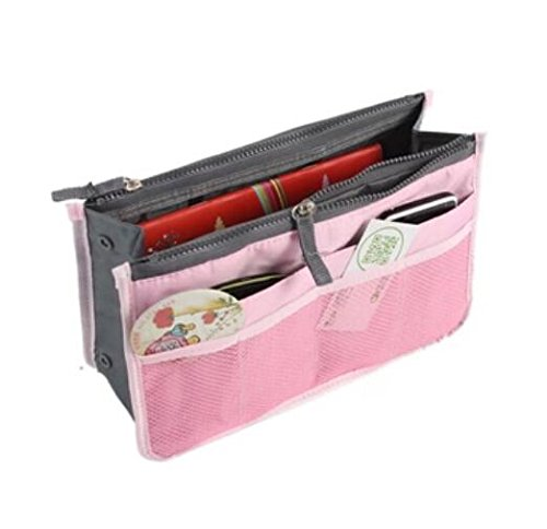 Liroyal Pink Handbag Pouch Bag in Bag Organiser Insert Organizer Tidy Travel Cosmetic Pocket Makeup Bag