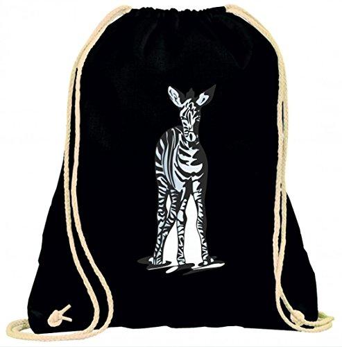 Turnbeutel Zebra Baby Kind steht Wildnis Dschungel mit Kordel - 100% Baumwolle- Gymbag- Rucksack- Sportbeutel Schwarz g4y1aGf