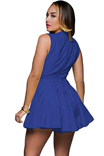 Neue Frau blau tiefem V-Ausschnitt Strampler Jumpsuit Spielanzug Catsuit Club Wear Festival Wear Größe 10–12