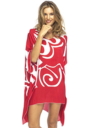 Back From Bali Womens Loose Beach Dress Cover up Short Poncho Butterfly Red
