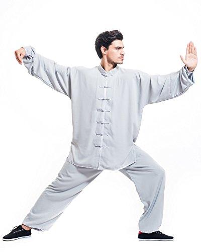 Icnbuys Chi Tai Kung E In Cotone Uomo Fu Seta Uniforme Grigio Da zMpqSUVG