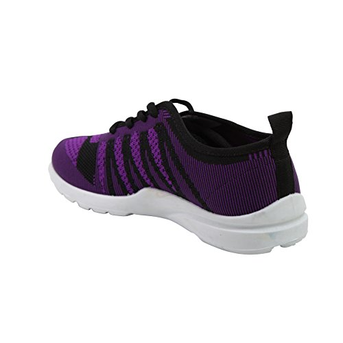 Modern Rush Funk Womens Veterschoenen Sportief Fashion Sneaker Met Mesh Gebreid Ademend Upper Zwart / Paars