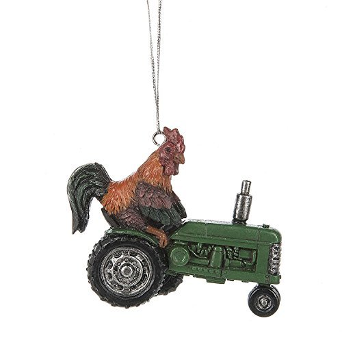 Rooster Driving Green Tractor 3.5 x 3 Inch Resin Christmas Ornament Figurine