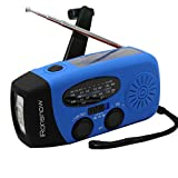 [Upgraded Version] iRonsnow IS-088+ [1000mAh] Solar Hand Crank Radio AM/FM/NOAA/WB Weather Emergency Radio, Dynamo LED Flashlight Power Bank for iPhone/Android Smart Phone (Blue)