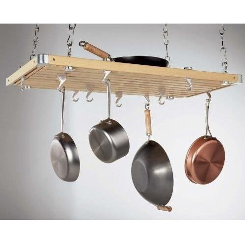 Concept Housewares Pot Rack Natural Colored Rectangular, Natural, 36 inch