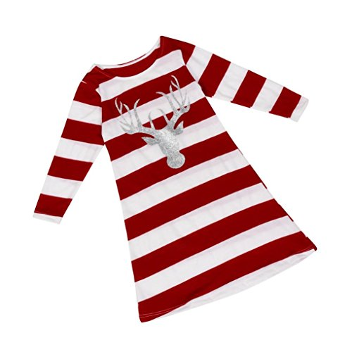 - ZLOLIA Baby Clothes Autumn Winter Girl Stripe Red Round Collar Christmas Elk Long Sleeve Dress (100, Red)