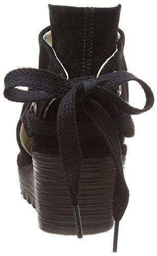 Fly London Yema Noires Oil Cale En Daim Femmes Cheville Chaussures Bottes