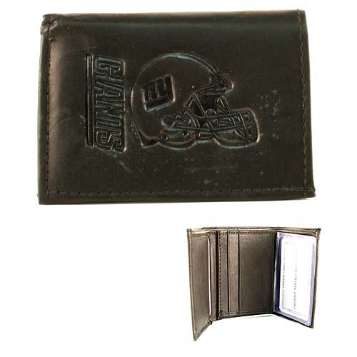 Giants Rico Tri Fold Wallet - NFL New York Giants Tri-Fold Leather Wallet, Black