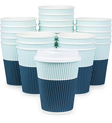 Glowcoast Disposable Coffee Cups With Lids - 12 oz To Go Coffee Cups (90 Set) With Sturdy Lids Prevent Leaks! Paper Hot Cup Holds Shape With Hot, Cold Drinks. Ripple Cups Protect Fingers from Heat! -