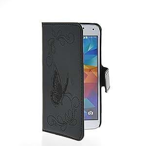 MOONCASE Mariposa Cartera Funda Carcasa Cuero Tapa Case Cover Para Samsung Galaxy S5 I9600 Negro