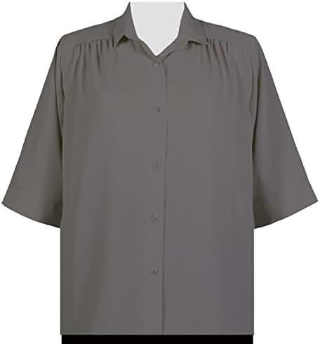 A Personal Touch Grey Peachskin Women's Plus Size Blouse