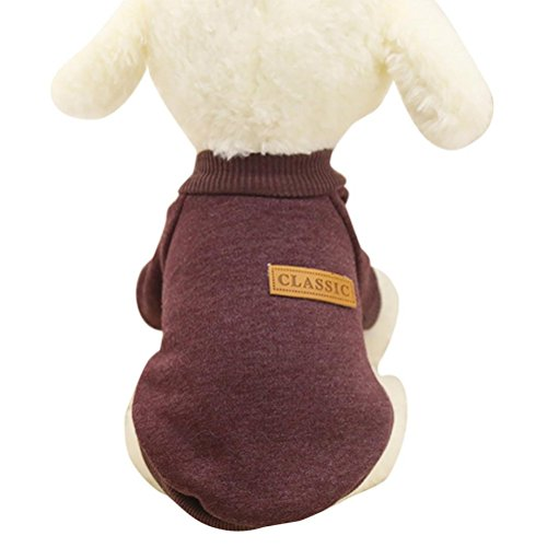 (Howstar Pet Classic Outfit, Puppy Warm Coat Cute Woolen Doggie Winter Sweater (S, Coffee))