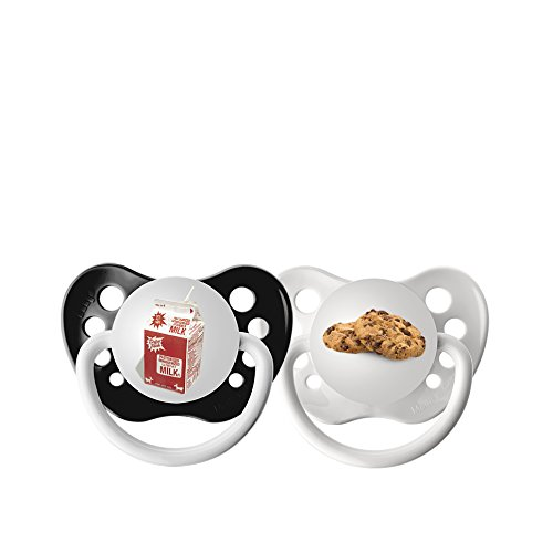 Pacifier Cookie (Ulubulu Expression Pacifier Set for Boys, Milk and Cookies, 0-6 Months)
