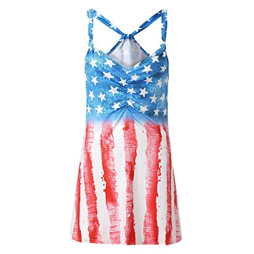 Smdoxi Summer Short Sleeve Vest Top American Flag Print Independence Day Style Fashion Casual Women's Shirt Blue]()