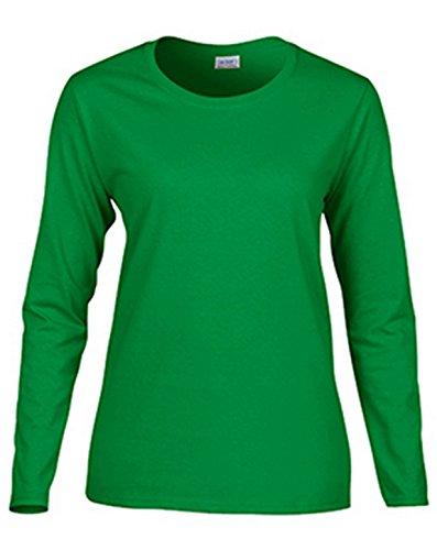Gildan Women's Preshrunk Taped Neck Heavy Rib Knit T-Shirt, Irish Green, Medium