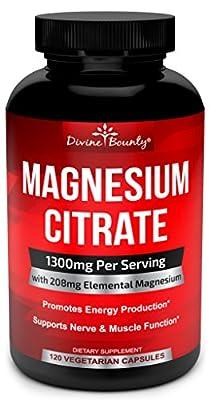 Pure Magnesium Citrate Capsules - 1300mg Magnesium Supplement with Elemental Magnesium - 120 Vegetarian Capsules