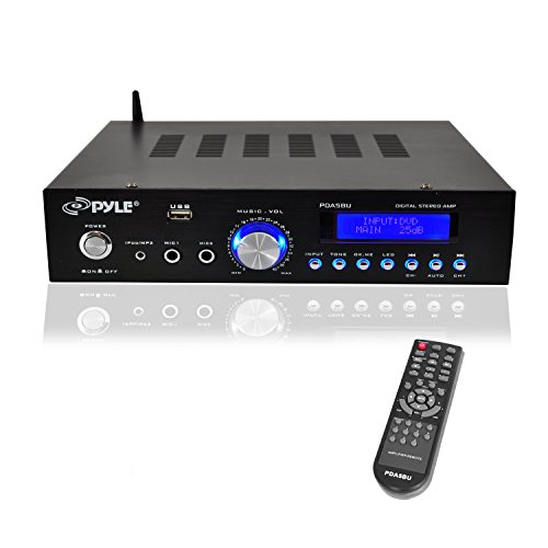 - Pyle  200W Audio Stereo Receiver - Wireless Bluetooth Home Power Amplifier Home Entertainment System w/ AUX IN, USB Port, DVD CD Player, AM FM Radio, 2 Karaoke Microphone Input, Remote - PDA5BU.0