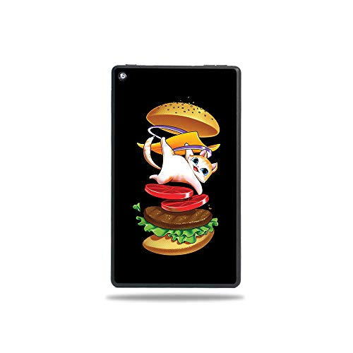 MightySkins Skin Compatible with Amazon Fire 7 Tablet (2019) - Hamburger Cat | Protective, Durable, and Unique Vinyl Decal Wrap Cover | Easy to Apply, Remove, and Change Styles | Made in The USA (Best Buns On The Beach 2019)