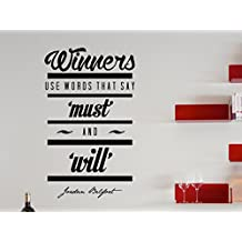 """Jordan Belfort Motivational Typography Quote Wall Decal Office Home Decor """"Winners Use Words That Say Must and Will"""" 29x17 Inches"""