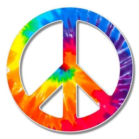 Carframes18 Peace Sign Tie Dye Vinyl Sticker - Car Window Bumper Laptop Bumper Sticker Decal - Peace Trendy Sign