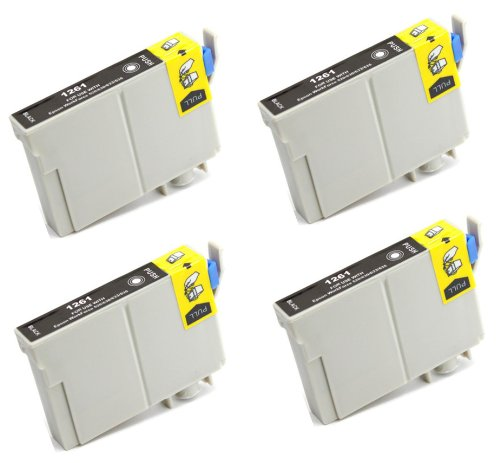4 Pack Elite Supplies ® Remanufactured Inkjet Cartridge Replacement for #126 T126 T1261, Epson T126120 Black, Works With Epson Stylus NX330, Stylus NX430, WF-7010, WF-7510, WF-7520, WorkForce 435, WorkForce 520, WorkForce 545, WorkForce 60, WorkForce 630