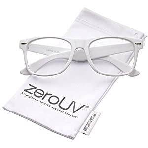 zeroUV - Retro Wide Arm Square Clear Lens Horn Rimmed Eyeglasses 54mm (White/Clear)