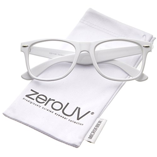 zeroUV - Retro Wide Arm Square Clear Lens Horn Rimmed Eyeglasses 54mm (White / - Glasses Girl White