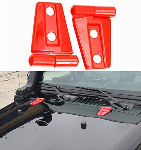 WYYINLI 2pack Engine Hood Hinge Cover Molding Trim for Jeep Wrangler JK Unlimited 2/4Door 2007-2017 (Red)