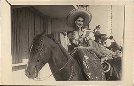 Mexican Girl On Horse Women Original Vintage Postcard