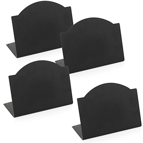 Freestanding Black Metal Erasable Chalkboard Place Card Signs, Small Memo Boards, (Set of 4) by MyGift (Image #3)'