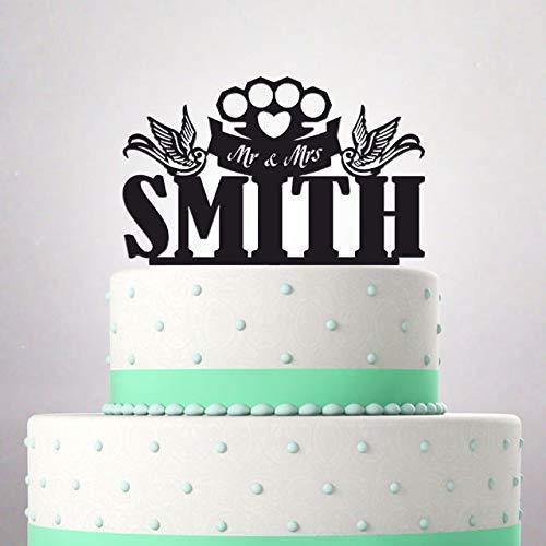 Decoración para tarta de boda, diseño de apellidos de Mr y Mrs ...