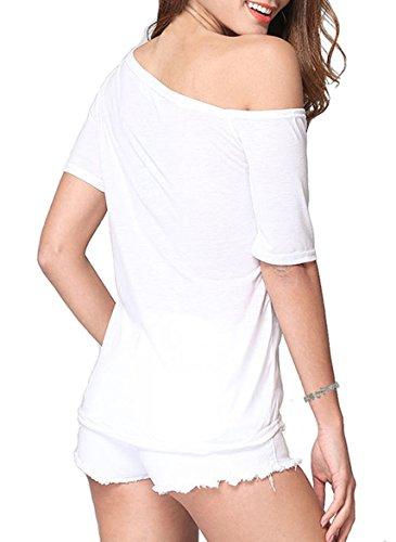 DoubleYI Damen Schulterfrei T Shirt Oberteile Basic Top Kurzarm Shirt