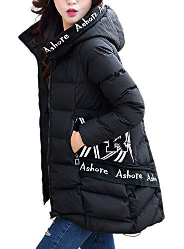 Cerniera Laterali Elegante Stampato Mantello Donna Manica Invernali Tasche Lunga Festa Pattern Giubbino Digitale Style Giubotto Con Outerwear Schwarz Cappuccio Moda Hot Piumini Antivento Tdax7wqT